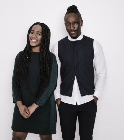 Karen Okonkwo and Joshua Kissi, founder of TONL, the divers stock photography